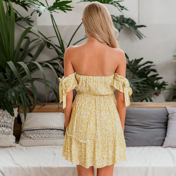 Women's Off The Shoulder Leopard Print Dress - Yellow-Havetolove.com