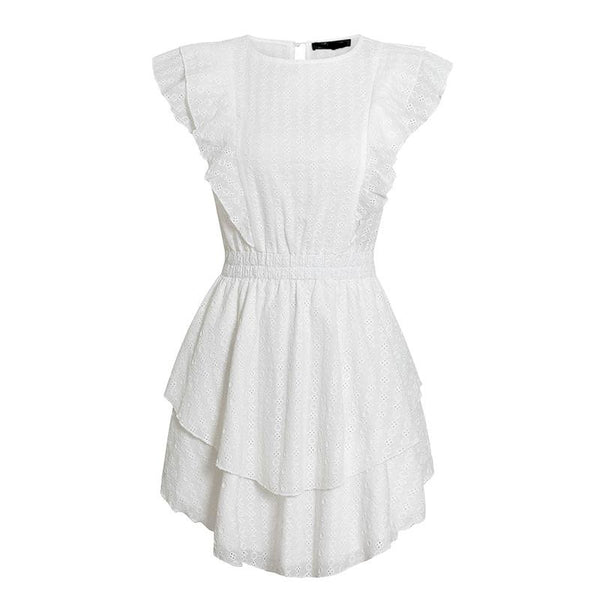 Women's Sleeveless Mini Dress - White-Havetolove.com