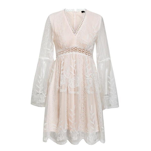 Women's Lace A-Line Dress - Pink-Havetolove.com