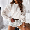 Women's Broderie Anglaise White Long Sleeve Top-Havetolove.com