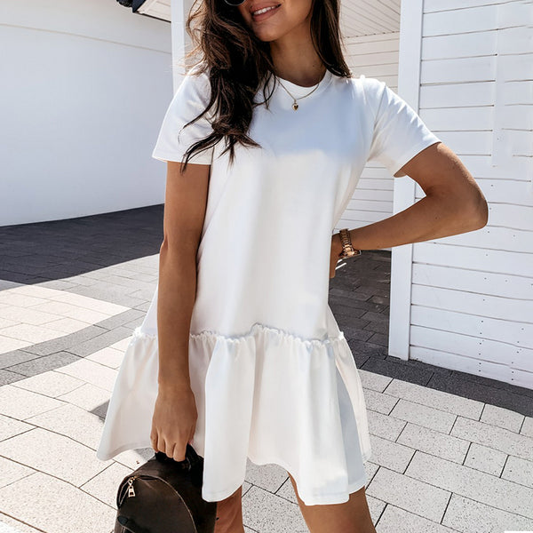 Women's Ruffle Hem Tee Dress-Havetolove.com