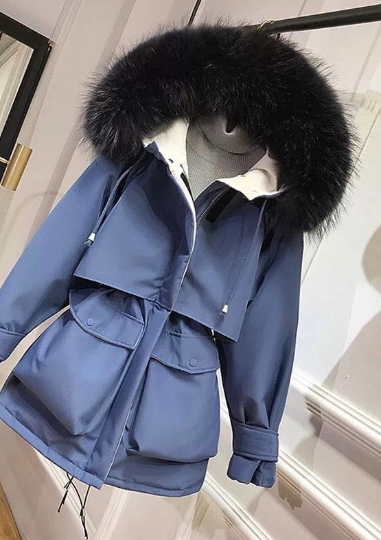 Faux Fur Women's Hooded Winter Down Jacket - NEW Colours-Havetolove.com