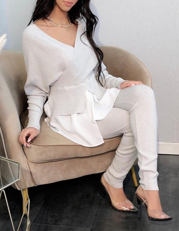 Beige Layered Loungewear Set-Havetolove.com