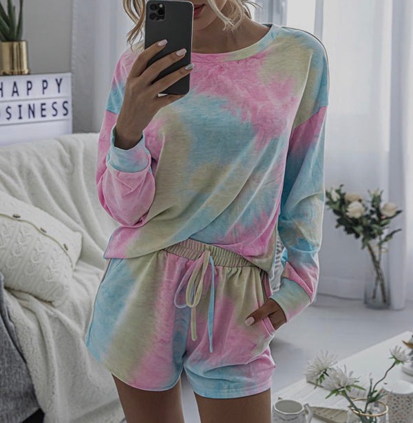 Women's Long Sleeve Tie Dye Loungewear Set - Various Colours-Havetolove.com