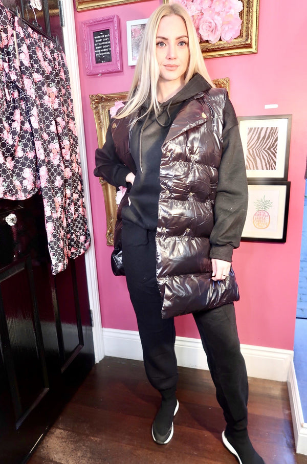 Three Piece Gilet and Loungewear Set - Black-Havetolove.com