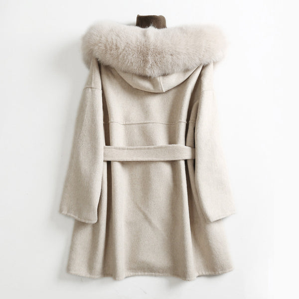 Women's Cashmere Oversized Coat with Big Fur Collar-Havetolove.com