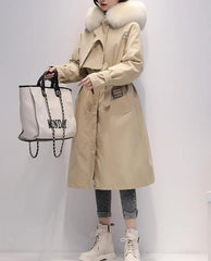 Women's Trench Coat - Real Fox Fur Hood and 90% Duck Down Filled - Various Colours-Havetolove.com