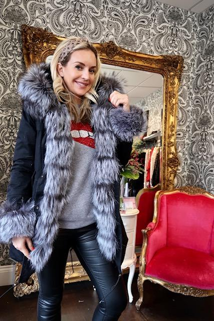 black silver F/S-S-Women's Long Parka - Real Fur Hood, Front And Cuffs - Various Colours & Options-Havetolove.com