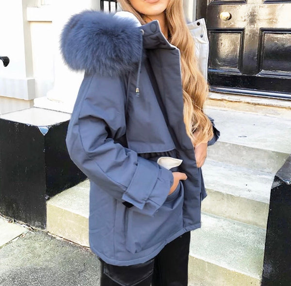 -Real Fox Fur Women's Hooded Winter Jacket With Duck Down - Various Colours-Havetolove.com
