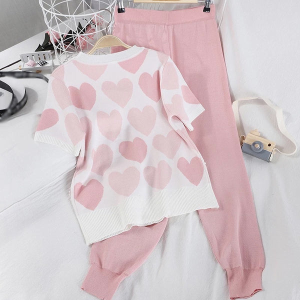 Women's Heart Pattern Short Sleeve Loungewear - Various Colours-Havetolove.com