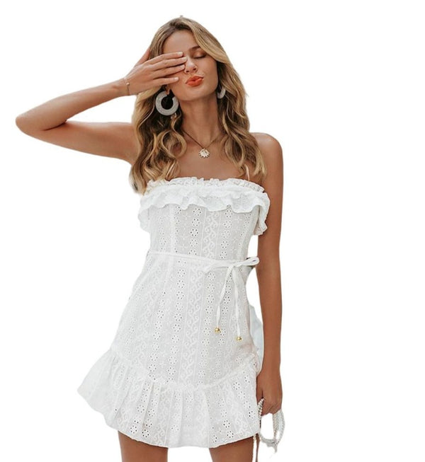 Women's Strapless Broderie Anglaise Dress - White-Havetolove.com