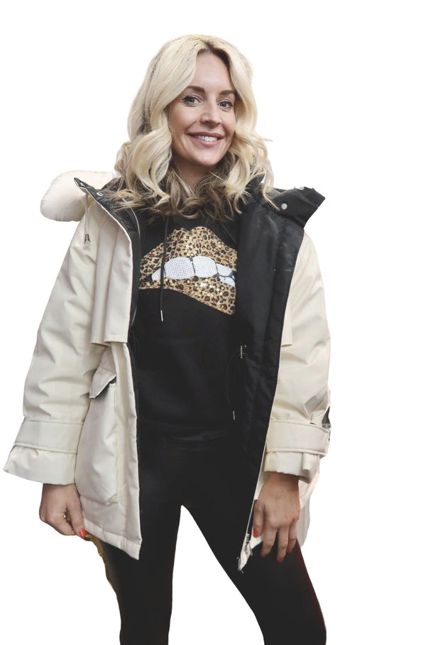 Real Fox Fur Women's Hooded Winter Jacket With Duck Down - Various Colours-Havetolove.com