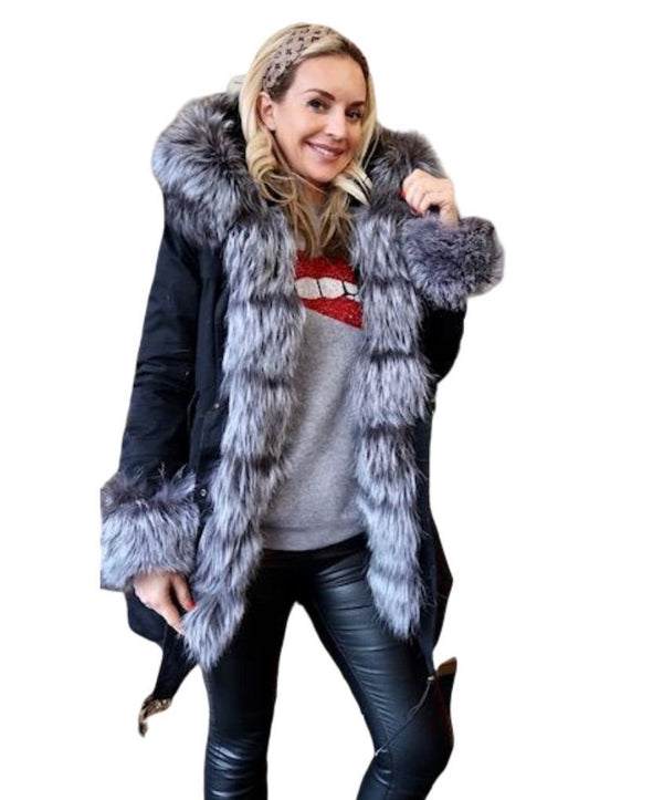 Women's Long Parka - Real Fur Hood, Front And Cuffs - Various Colours & Options-Havetolove.com