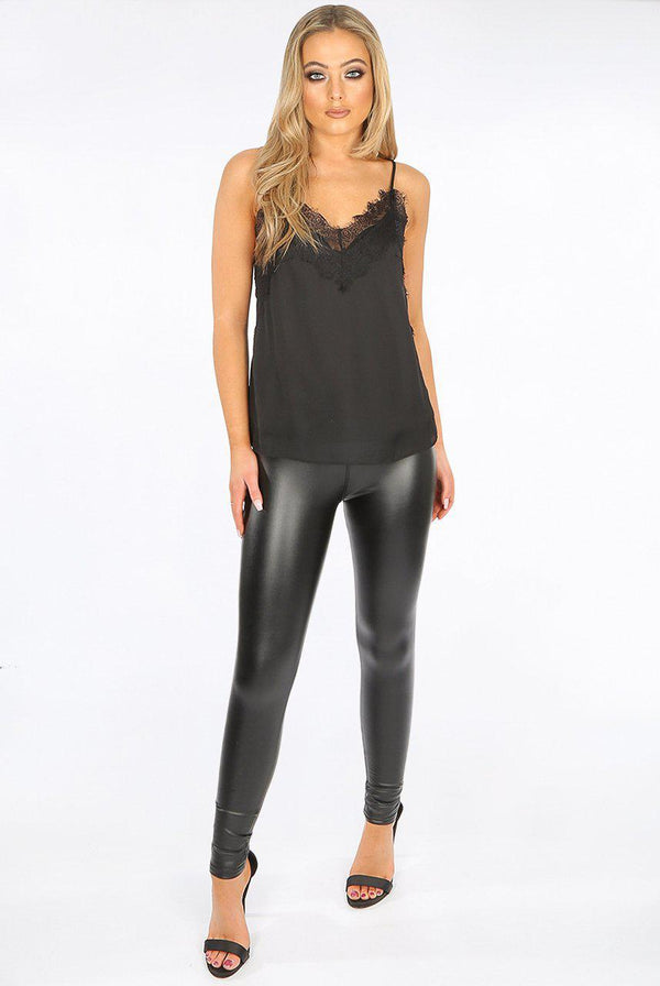 -Faux Leather Women's High Waist Pu Leggings - Black-Havetolove.com