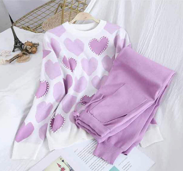 Women's Heart Pattern Loungesuit - Various Colours-Havetolove.com