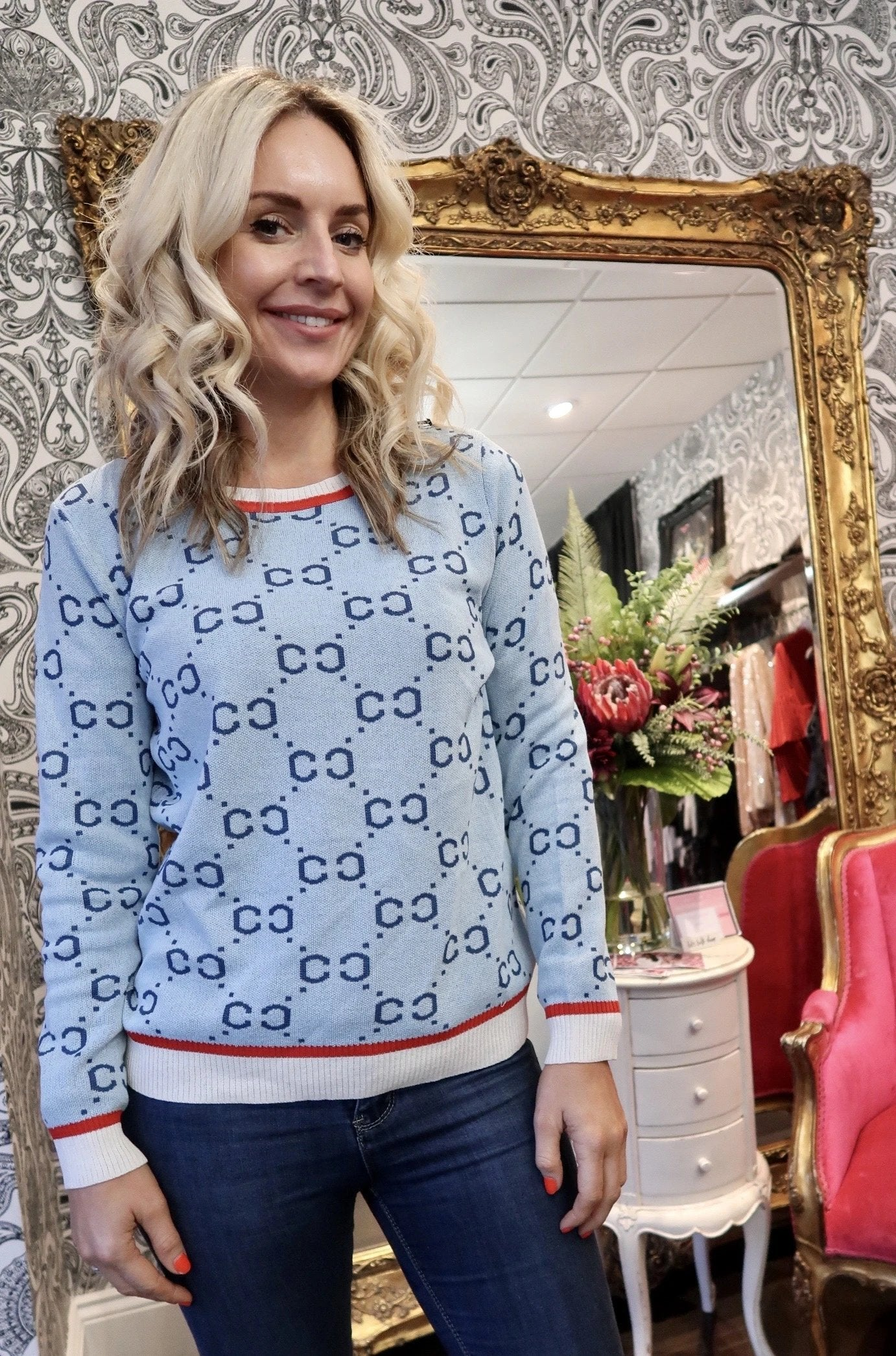 Women's Fitted Knit Jumper- Blue-Havetolove.com