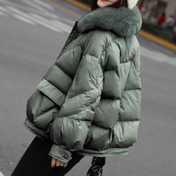 Women's Oversized Down Coat with Big Fur Collar-Havetolove.com