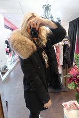 Women's Long Parka Coat with big real Natural Raccoon Fur Hood- Various colour options-Havetolove.com