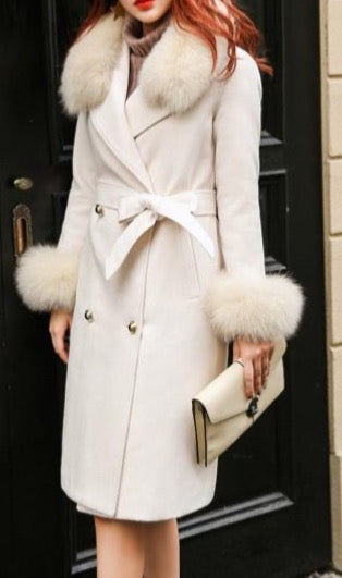 Women's Cashmere Coat with Fur Collar and Cuffs-Havetolove.com