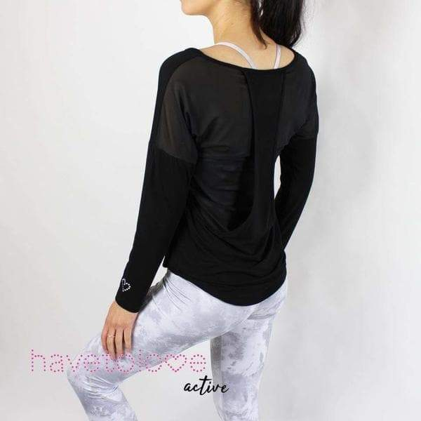 -The Chanel - Women's Gym Top Mesh Long Sleeve - Black-Havetolove.com