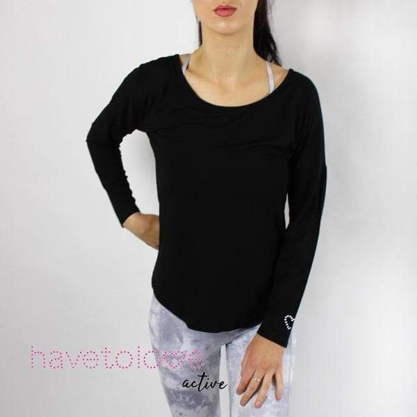 The Chanel - Women's Gym Top Mesh Long Sleeve - Black - havetolove-com