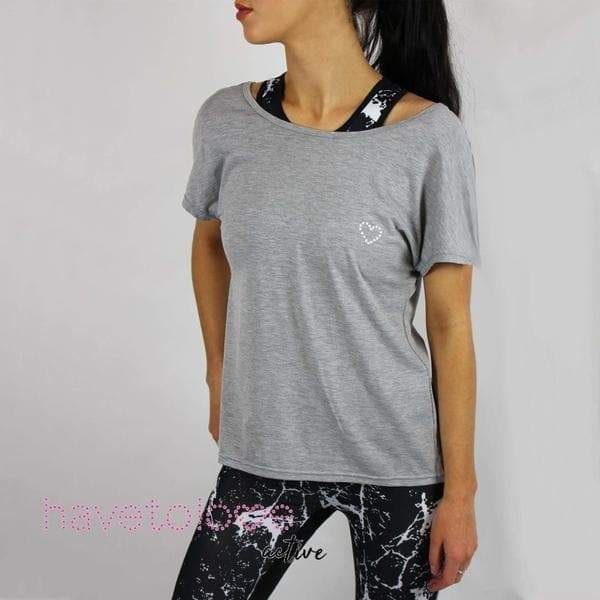 -The Curie - Women's Backless Gym Tee - Grey-Havetolove.com