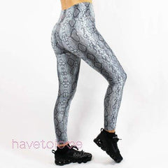 The Ono -Women's Activewear Full Length Leggings - Grey Snake Print - havetolove-com