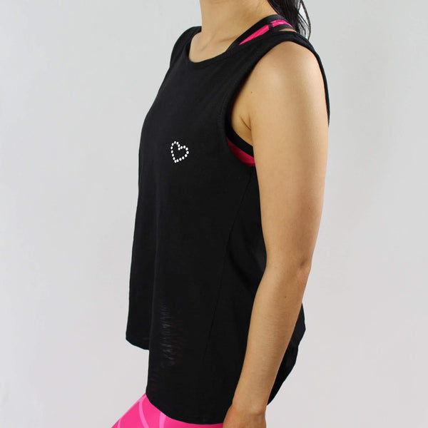 -The Pankhurst - Women's Gym Vest Top Twisted Back - Black-Havetolove.com
