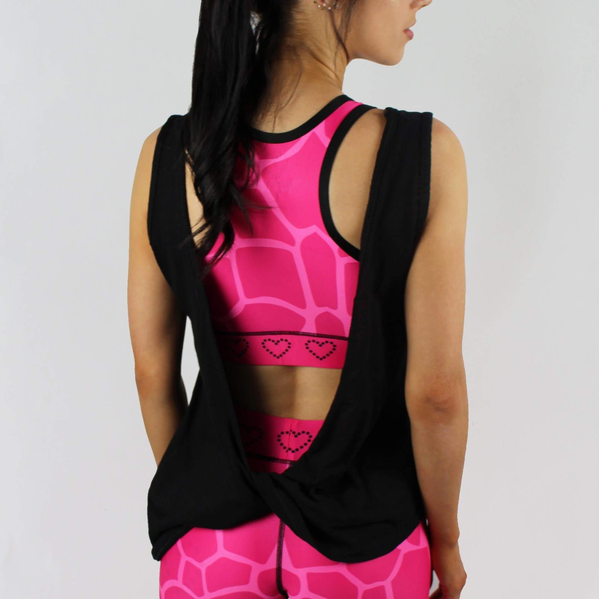 The Pankhurst - Women's Gym Vest Top Twisted Back - Black - havetolove-com