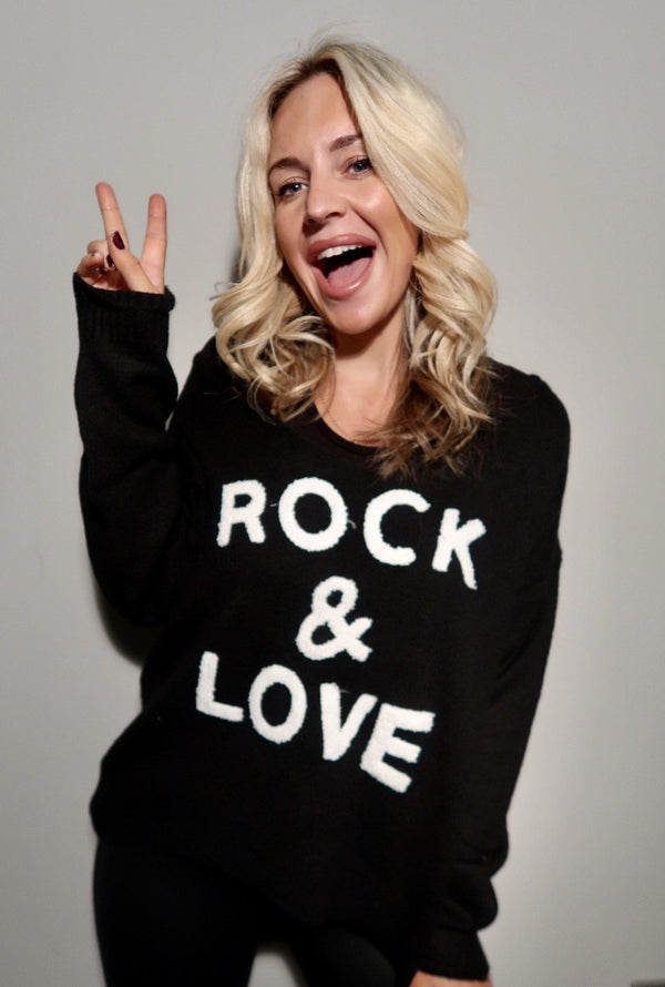 Black-Women's Rock & Love V Neck Jumper - Various Colours-Havetolove.com