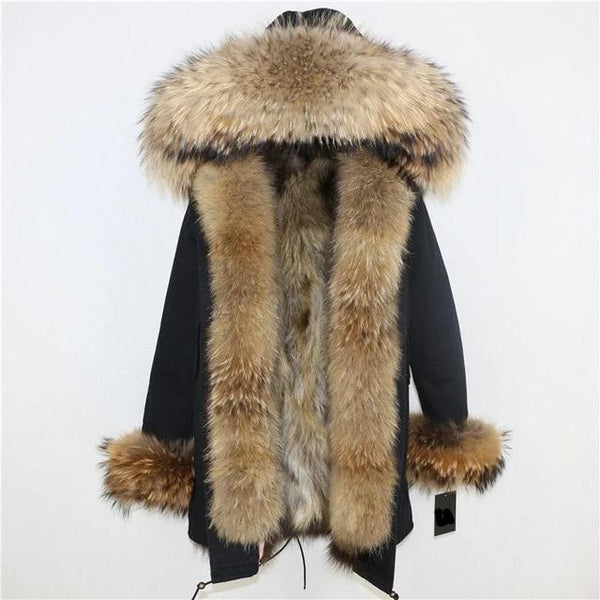 black natural F / S-XL-Women's Long Parka - Real Fur Hood, Front And Cuffs - Various Colours & Options-Havetolove.com