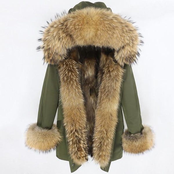 green natural F-S-Women's Long Parka - Real Fur Hood, Front And Cuffs - Various Colours & Options-Havetolove.com