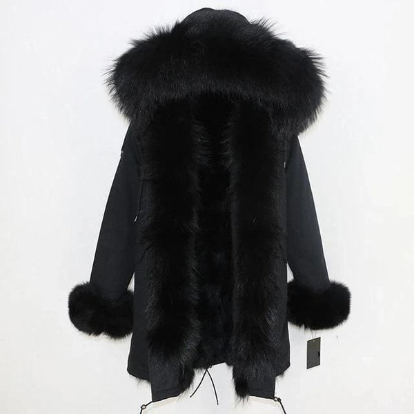 Full Black F / S-XL-Women's Long Parka - Real Fur Hood, Front And Cuffs - Various Colours & Options-Havetolove.com