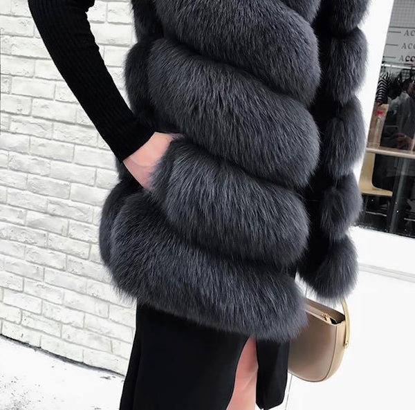 -Women's Medium Length Real Fox Fur Women's Gilet (6 Panels) - Various Colours-Havetolove.com