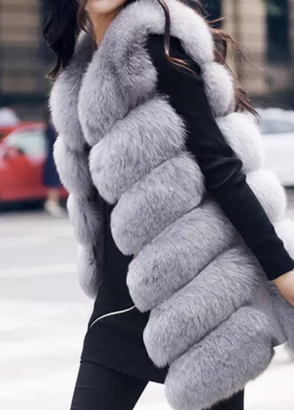 Medium-Light Grey Fur-Women's Medium Length Real Fox Fur Women's Gilet (6 Panels) - Various Colours-Havetolove.com
