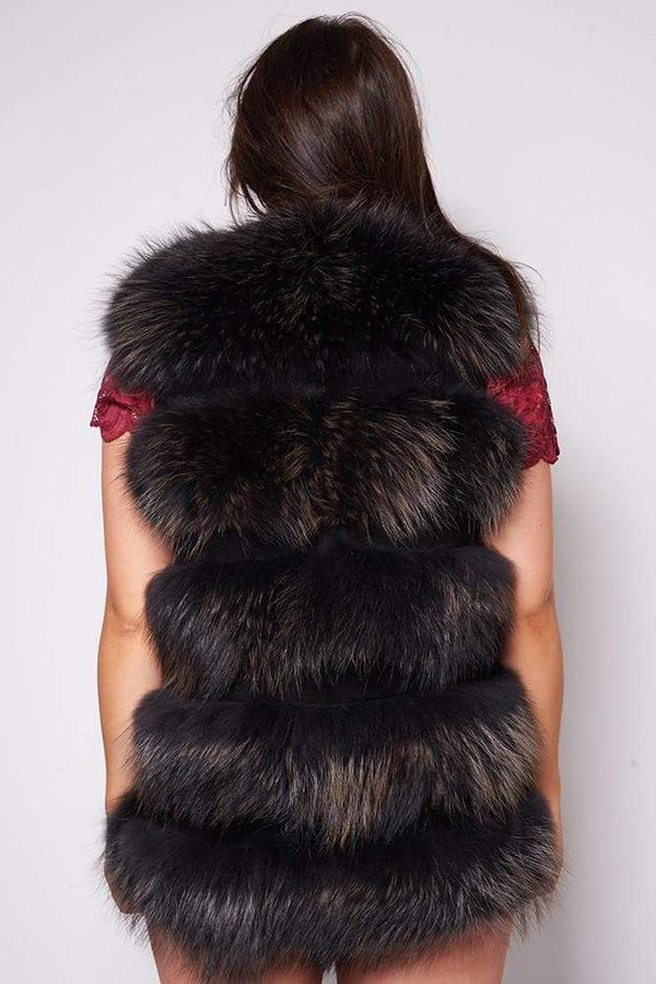 -Women's Medium Length Raccoon Fur Women's Gilet - Various Colours-Havetolove.com