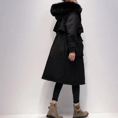 Fox fur hooded long down coat - Havetolove fashion online