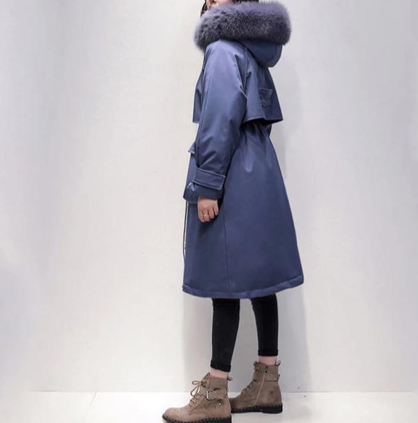 -Women's Real Fox Fur Collar Duck Down Long Coat - Various Colours-Havetolove.com