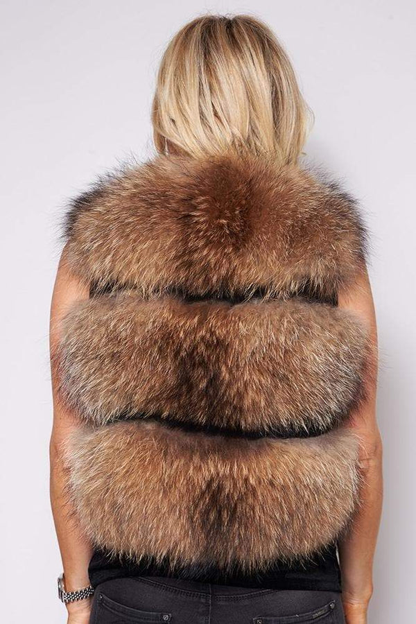 -Women's Short Real Raccoon Fur Gilet - Natural Fur-Havetolove.com