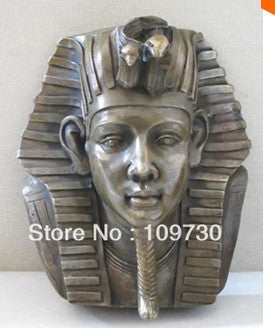 "15""comely Bronze ART statue KING TUT OF EGYPT King Tutankhamen head Wall Hanging"