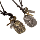 FREE Vintage Leather Necklace Unisex Women Men Long Egyptian Pharaoh Cross Pendants Necklaces Ethnic Jewelry