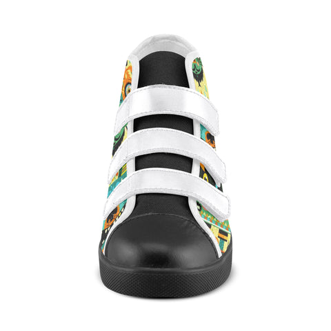 Velcro High Top Afrocentric Monster Designed  Kid's Shoes