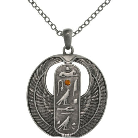 Jewelry Trends Pewter Rhinestone Egyptian Cartouche Pendant with 23 Inch Chain Necklace