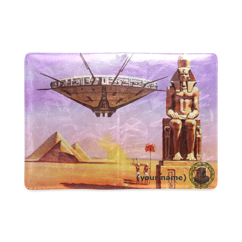 Spaceships in Egypt Custom Leather Notebook