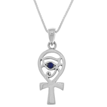 Jewelry Trends Sterling Silver Egyptian Eye of Horus Ankh Pendant with Synthetic Blue Lapis on 18 Inch Box Chain Necklace