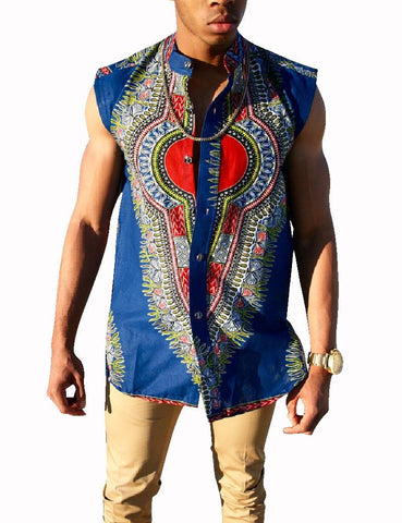 African Clothing Personal Custom Men Printed Sleeveless Shirt Traditional African Mens Shirts