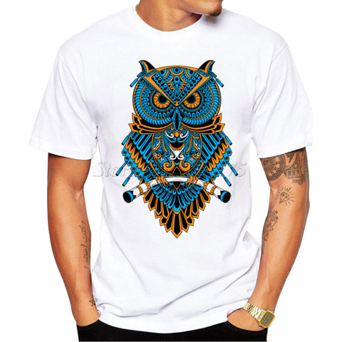 Men's Summer Casual Tops Hipster Machinery Owl Printed T Shirt Fashion Hipster Tees