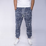 2016 New Fashion Men's Casual Pants Ethnic Floral Print  Linen Drawstring Full Length Harem Pants