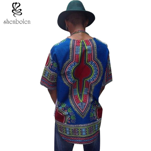 2016 summer African men clothing dashiki wax printing short sleeve Cotton splicing batiks fashion shirt man tops free shipping