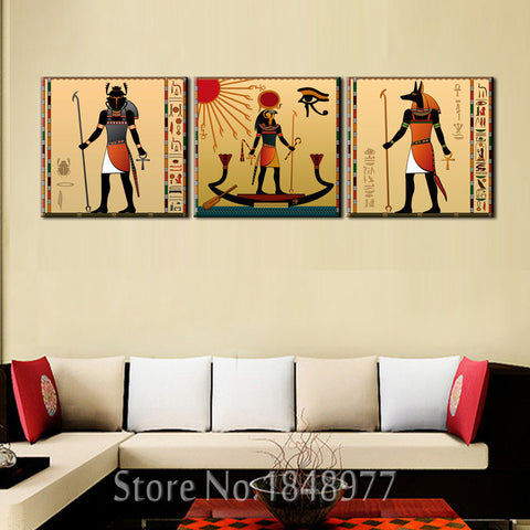 3 Panel Ancient Egyptian Art On Canvas